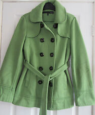 Ladies Next Lime Green Warm Double Breasted Belted Coat Size 10