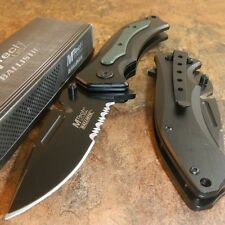 MTech BALLISTIC Assisted Opening Black Green BELT CUTTER ON BLADE Rescue Knife