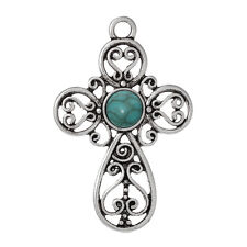 LARGE ANTIQUE SILVER TURQUOISE CROSS CHARM/PENDANT 64x42mm Necklace~Rosary (35J)