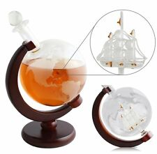 dBass Whiskey Decanter For Spirits Or Wine Decorative Etched World Globe Glass