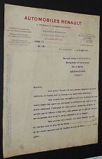 COURRIER DEVIS AUTOMOBILES LOUIS RENAULT BILLANCOURT 1914