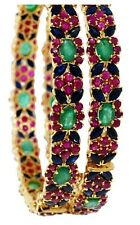 EXCLUSIVE DESIGN RARE COMBINATION RUBY -EMERALD -BLUE-SAPPHIRE BANGLE PAIR+ GIFT