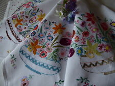 VINTAGE HAND EMBROIDERED LINEN TABLECLOTH=EXQUISITE DELICATE FLORAL EMBROIDERY