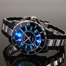 OHSEN Mens 7 Modes Light 12 Hour Black Sport Water Proof Quartz Wrist Watch Gift