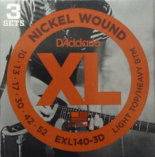 DAddario EXL140-3D Guitar Strings  Lt Top/Hvy Bottom 10-52 nickel wound  3-pack