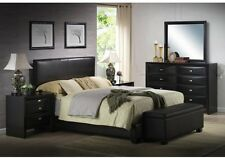 Queen Black Faux-Leather Upholstered Bed Frame w/ Modern Headboard and Footboard