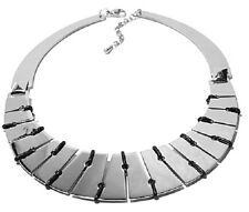 """Stately Steel Leather-Like Corded Collar 16 """" Stainless Steel Power Necklace"""