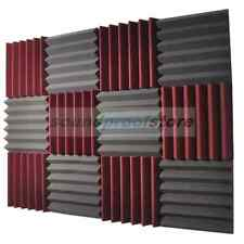 2x12x12 (12 Pk) BURGUNDY/CHARCOAL Acoustic Wedge Soundproofing Studio Foam Tiles