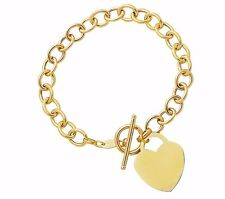 """14kt Yellow Gold Rolo Charm Link Bracelet with HEART Toggle lock 7.5"""" 7.25MM 8 g"""
