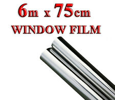 6M x 75CM SILVER CAR VAN HOME WINDOW FILM TINTING SHADE KIT MIRROR EFFECT 2R