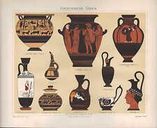 Chromo-Lithografie 1897: GRIECHISCHE VASEN. Mischgefäß Ölflasche Flasche