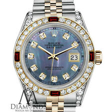 Women's Rolex Steel & Gold 31mm Datejust Watch Tahitian MOP Dial Ruby Diamond