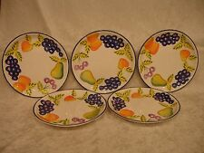 "VINTAGE ARTIST'S TOUCH ORCHARD JUBILEE 8 1/2"" SALAD PLATES (5) MINT CONDITION"