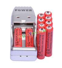 10X Batería recargable NiMH AAA 3A 1800mah 1.2V rojo color+ Cargador USB