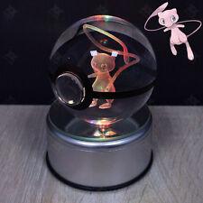 3D LED Pokemon Go Mew Bola de Cristal Ball Luz de Noche Lámpara Nocturna Regalo