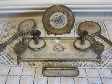 Vintage Antique Style Petit Point  Vanity  Dressing Table Set BEAUTIFUL