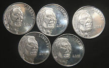 FIVE (5) INDIAN/BUFFALO SILVER ROUNDS 1 TROY OZ .999 PURE  LOT 040942S