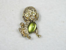 Cute Vintage Poodle Dog Jelly Belly Pin Brooch Green Glass Belly JellyBelly