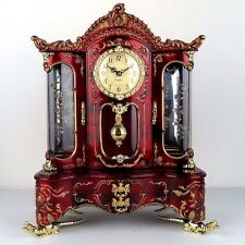 "Musical Jewelry Box w/ Clock Pendulum in Elegant Red Wood Gold Color 11.5"" W New"