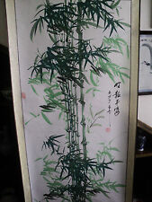 Chinese scroll painting - Color Ink painting  green Bamboo  竹报平安