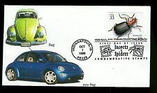 Volkswagon Bug and New Bug Cachet on Insects Stamp FDC Bombardier Beetle Scarce!