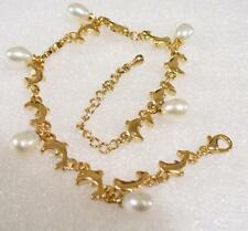 fashion1uk Women White Pearl 18KGP Gold Plated Dolphin Bracelet 7.5 +1.5