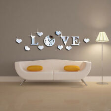 DIY Silver Mirror Effect Wall Sticker LOVE Decal Clock Movement Decoration