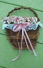 Handmade Natural Twig Wall Decor~Artificial Flowers~Rose Pink, White Lace