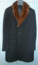 ANDRE' MAURICE 100% CASHMERE BLACK COAT WITH GENUINE MINK FUR 42 US -52 ITA SLIM