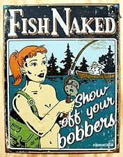 Funny Fishing Metal Sign Humor Tin Vintage Fish Wall Art Home Cabin Garage Decor