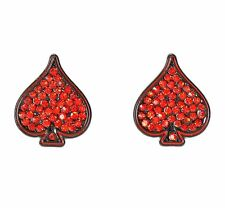 DC Comics HARLEY QUINN BLING SPADES STUD EARRINGS Batman Officially Licensed NEW