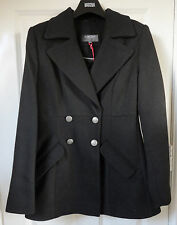 M&S Limited Collection Black SZ 18 Double Breasted Coat with Wool, BNWT, Was £69