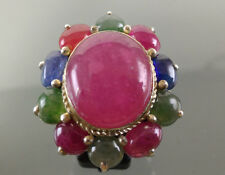 FLOWER NATURAL PINK RUBY SAPPHIRE EMERALD STERLING 925 SILVER WOMAN SIZE 7 RING