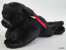 Steiff Cosy Black Panther Cat Woven Fur Plush 28 cm ID Button Tag 1980s Vintage