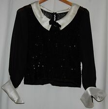 Vintage 40's Black Beaded Sequin White Sheer Blouse White Satin Collar Cuff S