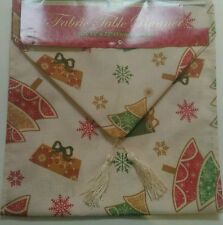 "NWT HOLIDAY CHRISTMAS TREE FLAKES KITCHEN FABRIC TABLE RUNNER TABLECLOTH 13""x72"""
