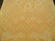 Vintage French Throw Bedcover-Golden Yellow c.1930 Reversible Double,  Fringed