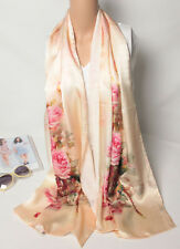100% Silk Crepe Satin Women Scarf long Shawl Wrap green soft pink red S104-013