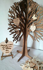 Personalised Guestbook Wishing Wedding Tree Rustic Love 50 Wood Hearts Birthday