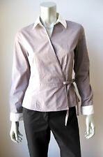 Willi Smith NEW Gray Stretch Cotton Kimono Front Long Sleeve Button Down Shirt S