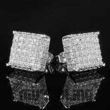 18K White Gold ICED OUT AAA Lab Diamond Micropave Square Stud Hip Hop Earring 8S