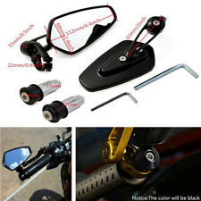 "2x Motorcycle CNC Handle Bar End Rear View 7/8"" 22mm Side Rearview Mirrors Black"