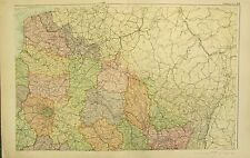 1912 LARGE ANTIQUE MAP ~ FRANCE NORTH EAST ~