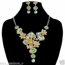 Luxury Art Deco Frog Lotus Dragonfly Necklace Earring Set Multi Austrian Crystal