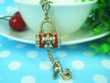 TR002 Bags & High-heeled Shoes Keyring Rhinestone Crystal Pendant  Keychain Gift