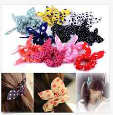 10Pcs Korean Cute Kawaii Big Rabbit Ear Bow Headband Ponytail Holder Hair Tie Ba