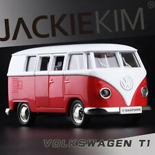 Red 1/43 Volkswagen VW 1962 T1 Transporter Van Samba Classic Bus Diecast Model