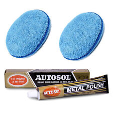 Autosol Solvol Chrome Metal Alu Cleaner & Polish + 2 Microfibre Polishing Pads