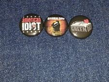 """Green day set of 3 1"""" inch button pin back punk"""
