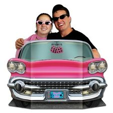 50's Pink Convertible Photo Prop - 94 x 64 cm - Rock & Roll Car Standin Cutout